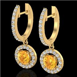 1.75 CTW Citrine & Micro Pave Halo VS/SI Diamond Earrings 18K Yellow Gold - REF-82F8N - 23250