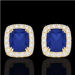 2.50 CTW Sapphire & Micro Pave VS/SI Diamond Halo Earrings 10K Yellow Gold - REF-49A3X - 22871