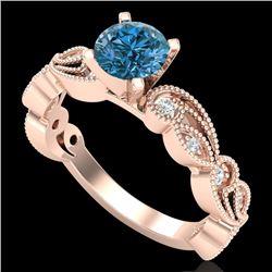 1.01 CTW Fancy Intense Blue Diamond Solitaire Art Deco Ring 18K Rose Gold - REF-143W6F - 38273