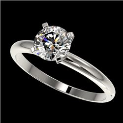 1.01 CTW Certified H-SI/I Quality Diamond Solitaire Engagement Ring 10K White Gold - REF-216W4F - 36