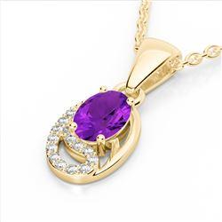 1.25 CTW Amethyst & Micro VS/SI Diamond Necklace 10K Yellow Gold - REF-18K9W - 22342
