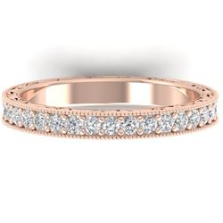 1 CTW Certified VS/SI Diamond Art Deco Eternity Band 14K Rose Gold - REF-78M2H - 30271