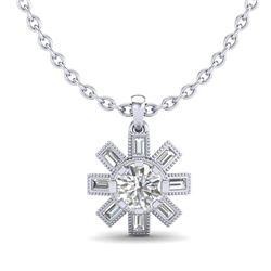 1.33 CTW VS/SI Diamond Solitaire Art Deco Stud Necklace 18K White Gold - REF-220Y9K - 37067