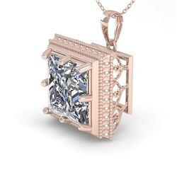 1 CTW VS/SI Princess Diamond Solitaire Necklace 18K Rose Gold - REF-332K8W - 36002