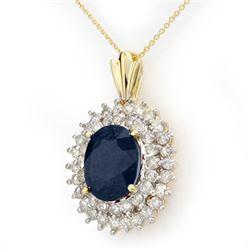 11.20 CTW Blue Sapphire & Diamond Pendant 14K Yellow Gold - REF-205M5H - 12994