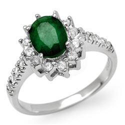 1.95 CTW Emerald & Diamond Ring 14K White Gold - REF-68A9X - 13507
