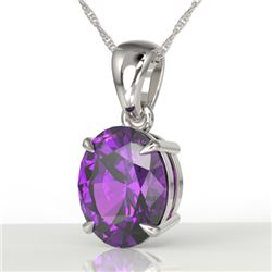 2.5 CTW Amethyst Designer Inspired Solitaire Necklace 18K White Gold - REF-29K3W - 21849