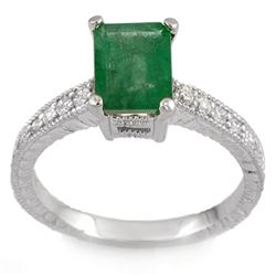 2.15 CTW Emerald & Diamond Ring 18K White Gold - REF-64W2F - 11587