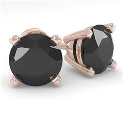 2.0 CTW Black Diamond Stud Designer Earrings 14K Rose Gold - REF-58H4A - 38373