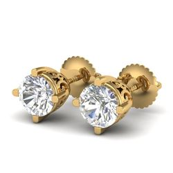 1.5 CTW VS/SI Diamond Solitaire Art Deco Stud Earrings 18K Yellow Gold - REF-318H2A - 37231