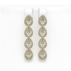 6.01 CTW Pear Diamond Designer Earrings 18K Yellow Gold - REF-1127H6A - 42739