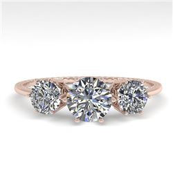 1 CTW Solitaire Past Present Future VS/SI Diamond Ring 18K Rose Gold - REF-157F5N - 35903