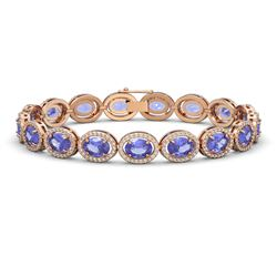 21.35 CTW Tanzanite & Diamond Halo Bracelet 10K Rose Gold - REF-353N6Y - 40611