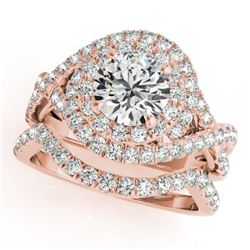 2.26 CTW Certified VS/SI Diamond 2Pc Wedding Set Solitaire Halo 14K Rose Gold - REF-548W5F - 31038