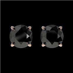1 CTW Fancy Black VS Diamond Solitaire Stud Earrings 10K Rose Gold - REF-25A2X - 33053