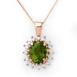 3.55 CTW Green Tourmaline & Diamond Necklace 14K Rose Gold - REF-72W8F - 10796