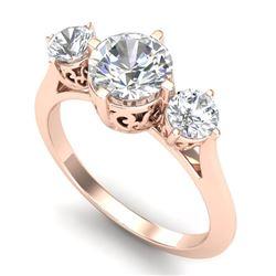 1.51 CTW VS/SI Diamond Solitaire Art Deco 3 Stone Ring 18K Rose Gold - REF-427K3W - 37236
