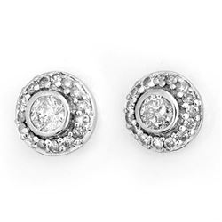 0.90 CTW Certified VS/SI Diamond Solitaire Stud Earrings 18K White Gold - REF-103K3W - 11465