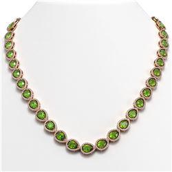 33.35 CTW Peridot & Diamond Halo Necklace 10K Rose Gold - REF-664H2A - 41070