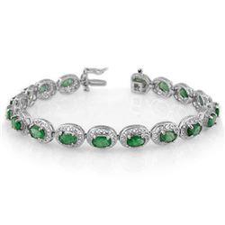 10.0 CTW Emerald Bracelet 18K White Gold - REF-161K8W - 11539