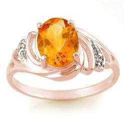 2.04 CTW Citrine & Diamond Ring 14K Rose Gold - REF-22N8Y - 10698