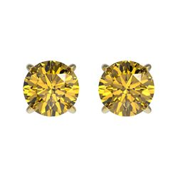 1 CTW Certified Intense Yellow SI Diamond Solitaire Stud Earrings 10K Yellow Gold - REF-116W3F - 330