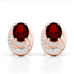2.50 Garnet & Micro Pave VS/SI Diamond Stud Earrings 10K Rose Gold - REF-25W6F - 22333