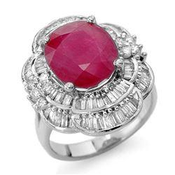 5.59 CTW Ruby & Diamond Ring 18K White Gold - REF-179T5M - 13146