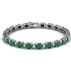23.5 CTW Emerald & VS/SI Certified Diamond Eternity Bracelet 10K White Gold - REF-143N6Y - 29366