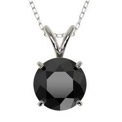 1.50 CTW Fancy Black VS Diamond Solitaire Necklace 10K White Gold - REF-34Y3K - 33223