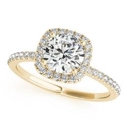 1 CTW Certified VS/SI Diamond Solitaire Halo Ring 18K Yellow Gold - REF-188N2Y - 26199