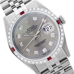 Rolex Ladies Stainless Steel, Diam Dial & Diam/Ruby Bezel, Sapphire Crystal - REF-426N3A