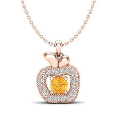 0.30 CTW Citrine & VS/SI Diamond Micro Pave Halo Necklace 14K Rose Gold - REF-27Y6K - 20376