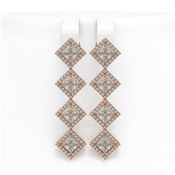 5.92 CTW Princess Cut Diamond Designer Earrings 18K Rose Gold - REF-1094W9F - 42855