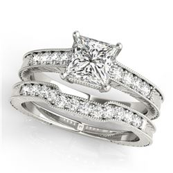 1.43 CTW Certified VS/SI Princess Diamond Wedding Antique 14K White Gold - REF-441H3A - 31421