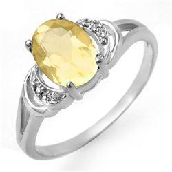 1.03 CTW Citrine & Diamond Ring 10K White Gold - REF-13M8H - 12499