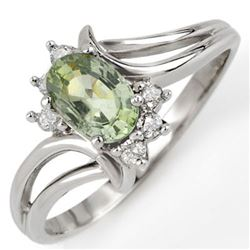 0.70 CTW Green Sapphire & Diamond Ring 10K White Gold - REF-18X2T - 10565