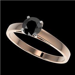 0.75 CTW Fancy Black VS Diamond Solitaire Engagement Ring 10K Rose Gold - REF-23M5H - 32975