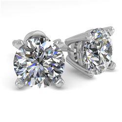 1.53 CTW VS/SI Diamond Stud Designer Earrings 18K White Gold - REF-301K8W - 32298