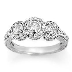 1.25 CTW Certified VS/SI Diamond Ring 14K White Gold - REF-99F3N - 11638