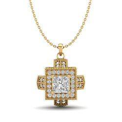 0.84 CTW Princess VS/SI Diamond Solitaire Micro Pave Necklace 18K Yellow Gold - REF-149T3M - 37192