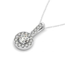 0.55 CTW Certified SI Diamond Solitaire Halo Necklace 14K White Gold - REF-56H5A - 30025