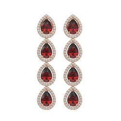 8.2 CTW Garnet & Diamond Halo Earrings 10K Rose Gold - REF-135F3N - 41184