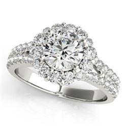 2.01 CTW Certified VS/SI Diamond Solitaire Halo Ring 18K White Gold - REF-421W6F - 26700