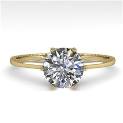 1.01 CTW Certified VS/SI Diamond Engagement Ring 18K Yellow Gold - REF-286F3N - 35890