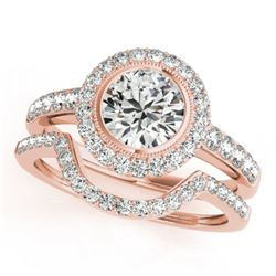 1.91 CTW Certified VS/SI Diamond 2Pc Wedding Set Solitaire Halo 14K Rose Gold - REF-414H2A - 31281