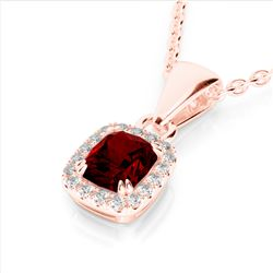 1.25 CTW Garnet & Micro Pave VS/SI Diamond Halo Necklace 10K Rose Gold - REF-27A3X - 22884