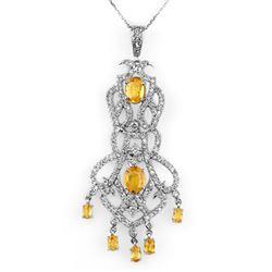 7.65 CTW Yellow Sapphire & Diamond Necklace 14K White Gold - REF-231H5A - 11098