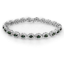 9.42 CTW Emerald & Diamond Bracelet 18K White Gold - REF-401F3N - 13992