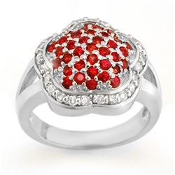1.50 CTW Red Sapphire & Diamond Ring 14K White Gold - REF-74N9Y - 10541